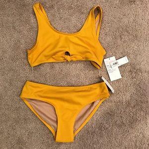 Old Navy Mustard Tie Front Bikini